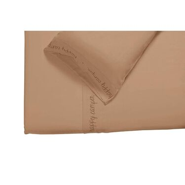 Microfiber Embroidered Sheet Set Taupe, Happy Camper, Short Queen