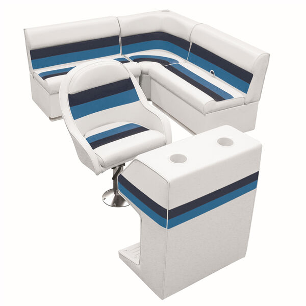Deluxe Pontoon Furniture with Toe Kick Base - Group 2 Package, White/Navy/Blue