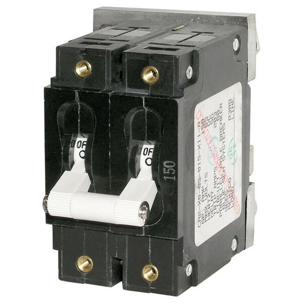 Blue Sea DC Circuit Breaker C-Series Toggle Switch, Double Pole, 200A