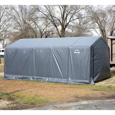 Peak Style Storage Shed 10 x 10 x 8 Gray Cover