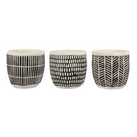 Young's Cement Planters, Black and White, Set of 3