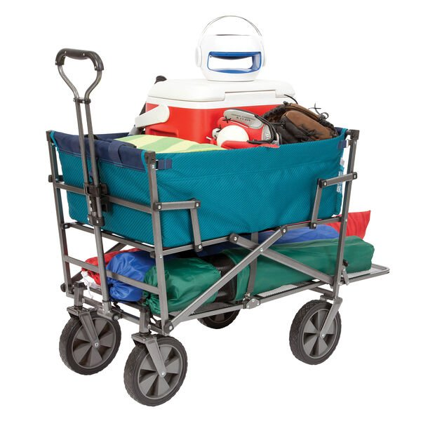 Collapsible Double Decker Outdoor Utility Wagon, Teal