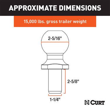 "CURT 2-5/16"" Trailer Ball, 15,000 lbs., Chrome-Plated"