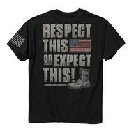 Buck Wear Men's Edgy Americana Respect This Short-Sleeve Tee