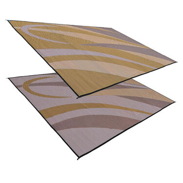 Reversible RV Graphic Design Patio Mat, 8' x 20', Brown/Gold
