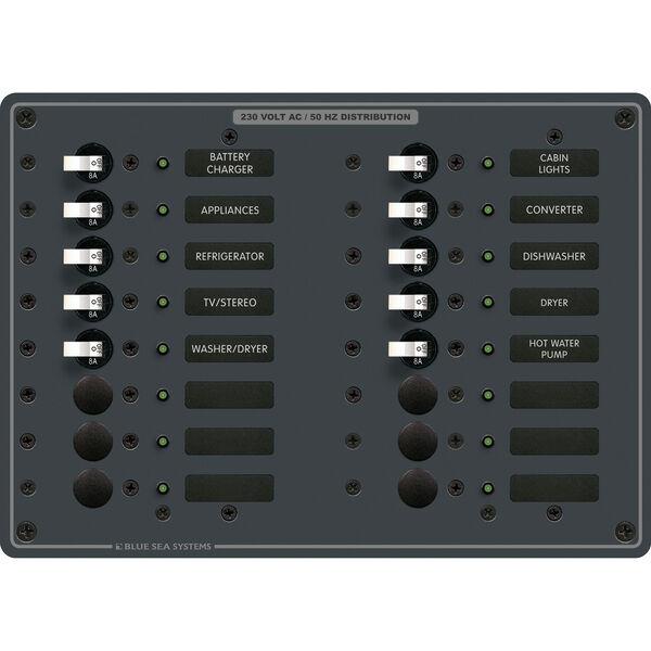 Blue Sea Systems AC 16-Position Panel (European)