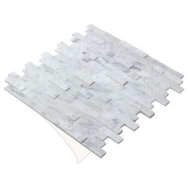 "Peel-and-Stick Mosaic Wall Tile, 12"" x 12"", Stacked Carrara"