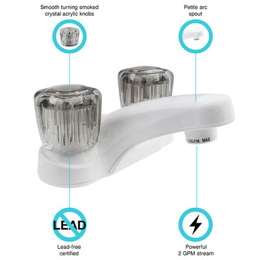 Dura Faucet RV Lavatory Faucet with Smoked Acrylic Knobs, White