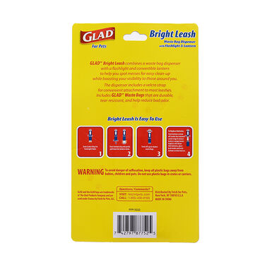 Glad for Pets Bright Leash Waste Bag Dispenser with Flashlight
