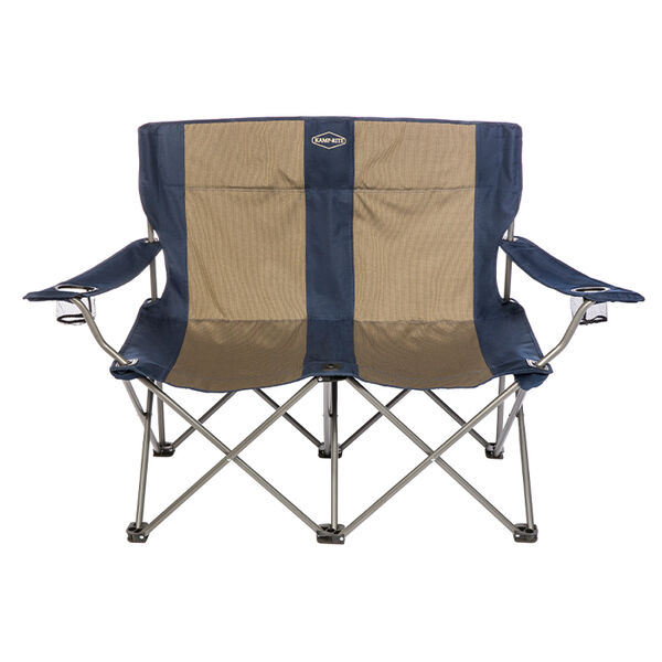 Double Folding Chair, Navy and Tan