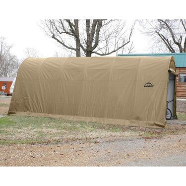 Auto Shelter 10 x 20, Peak Style Frame, Sandstone Cover