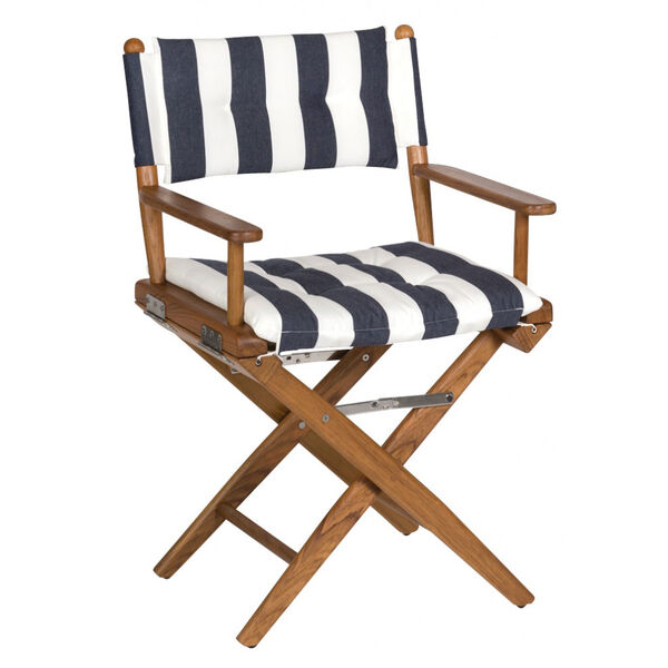 Whitecap Teak Director's Chair With Navy/White Stripe Seat Cushion