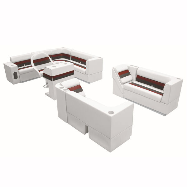"Deluxe Pontoon Furniture w/Toe Kick Base, Complete Big ""L"" Package, White/Red/Ch"