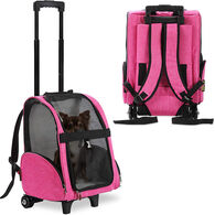 KOPEKS Deluxe Backpack Pet Travel Carrier with Wheels - Heather Pink - Approved by Most Airlines