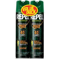 Repel Insect-Repellent Sportsmen Max Formula 6.5-Oz. Aerosol Spray-Can Twin Pack