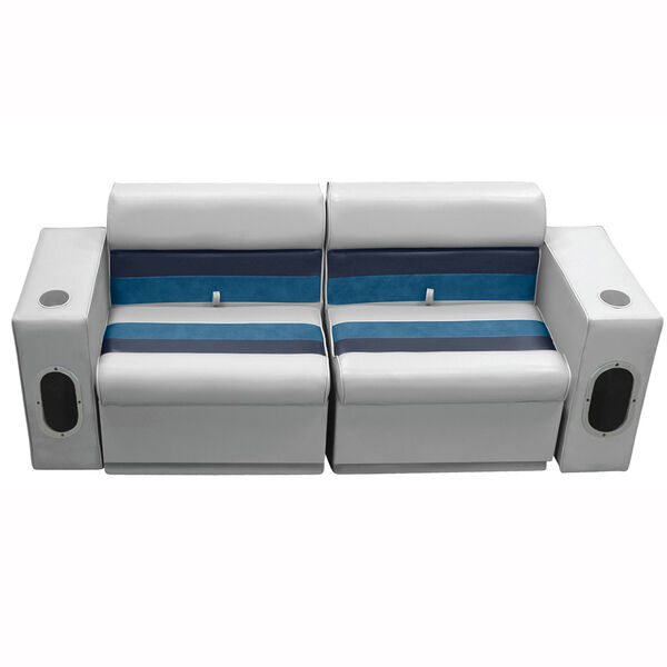 Deluxe Pontoon Furniture w/Toe Kick Base - Front Group 5 Package, Gray/Navy/Blue
