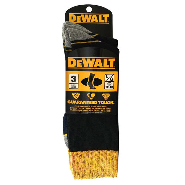 DeWalt Men's Everyday Cotton-Blend Work Socks, 3-Pack