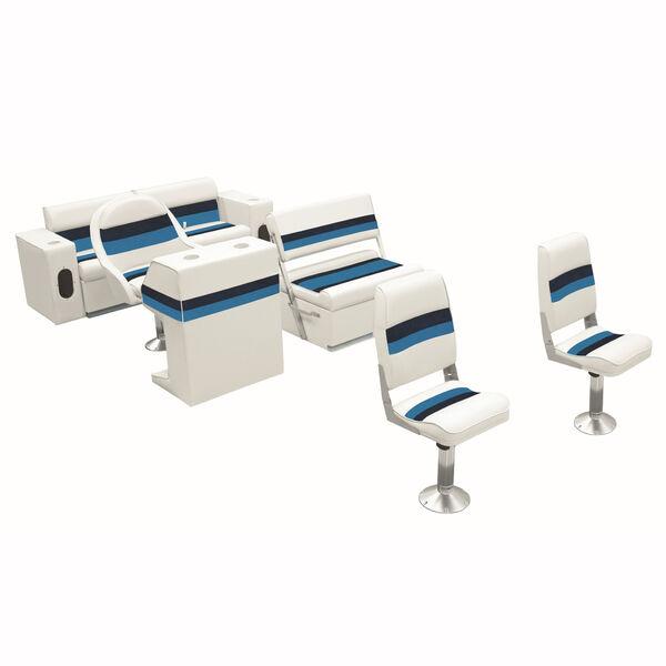 Deluxe Pontoon Seats w/Toe Kick Base, Fishing Package Plus Stand, White/Navy/Blu
