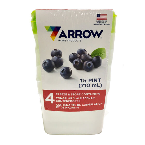 Arrow Stor-Keeper Freezer Storage 1-5-Pint Containers, 4-Pack