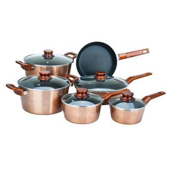Alpine Cuisine 11 Piece Aluminum Copper Metallic Cookware Set