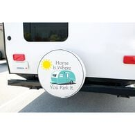 """Vinyl Spare Tire Cover, Home is Where You Park It, 29"""""""