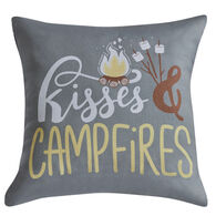 """Kisses & Campfires"" Throw Pillow, 16"" x 16"""
