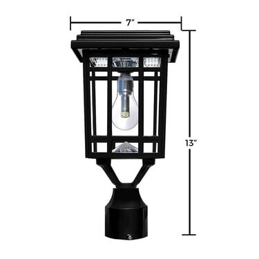 Prairie Bulb Solar Light with GS Solar LED Light Bulb - Wall/Pier/ 3 In. Fitter Mounts, Black Finish