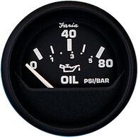 "Faria 2"" Euro Black Series Oil Pressure Gauge, 80 PSI"