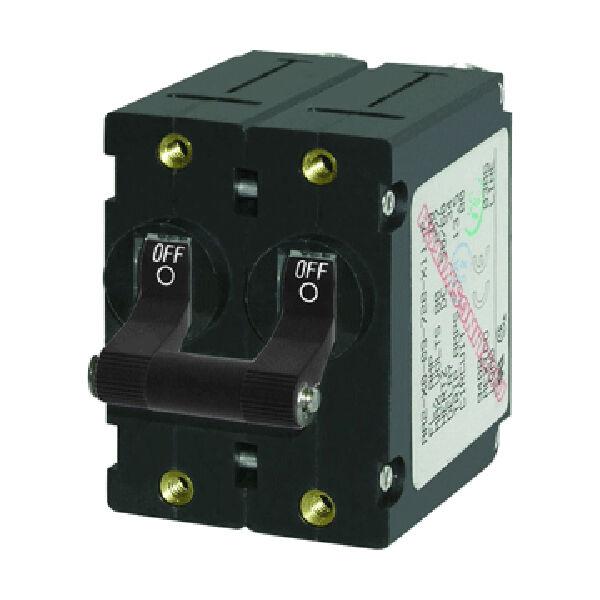 Blue Sea AC Circuit Breaker A-Series Toggle Switch, Double Pole, 16A, Black
