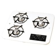 3 Burner Drop-In Cooktop, White top