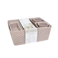 Home Collections 10-Piece Y-Weave Storage Basket Set, Taupe