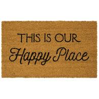 """Happy Place Coir Doormat, 18"""" x 30"""""""