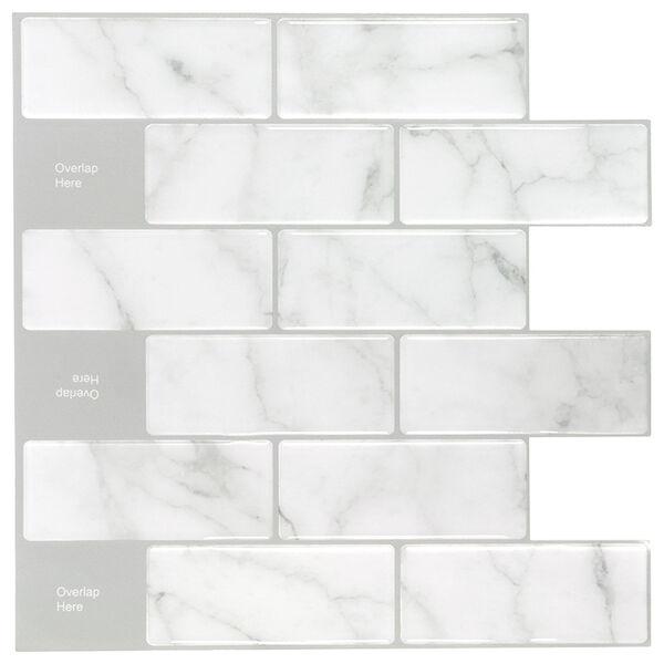 "Peel-and-Stick Mosaic Wall Tile, 10"" x 10"", Carrara Subway Glossy Composite"
