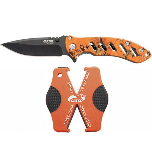 Bear & Son Brisk 1.0 Combo Set with Blaze Orange Folding Knife and Sharpener