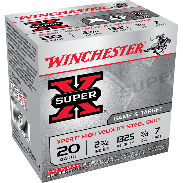 "Winchester XPert Steel Loads, 20-ga., 2-3/4"", 3/4-oz., #7"