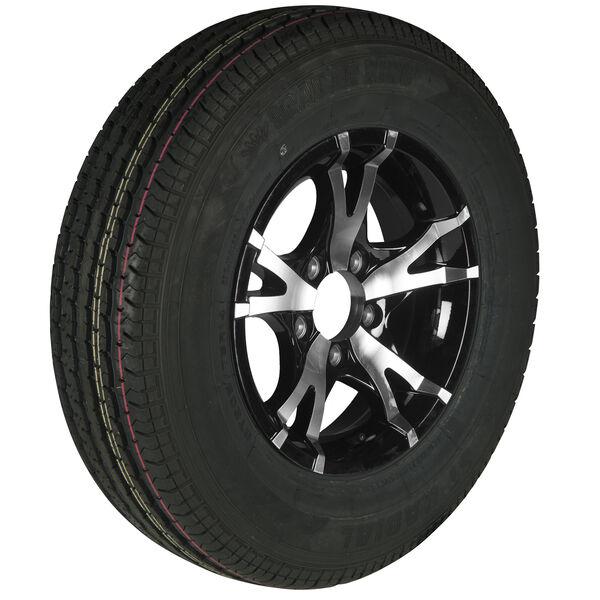 Trailer King II ST205/75 R 14 Radial Trailer Tire, 5-Lug Aluminum T07 Black Rim