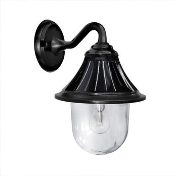 Orion Solar Light with GS Solar LED Light Bulb - Wall Mount, Black Finish