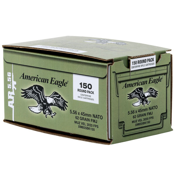 American Eagle Rifle Ammo, 5.56x45mm, 62-gr., FMJ, 150 Rounds
