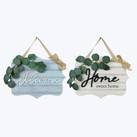 Young's Wooden Wall Sign with Artificial Greenery, Set of 2