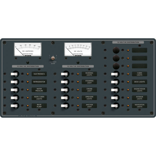 Blue Sea Systems Panel, DC 18 Positions Plus Analog Voltmeter and Ammeter