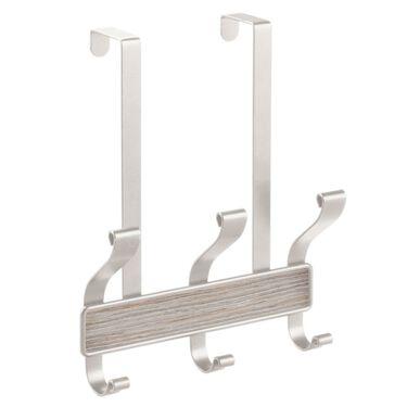 3 Double Hook RealWood Over Door Rack, Gray