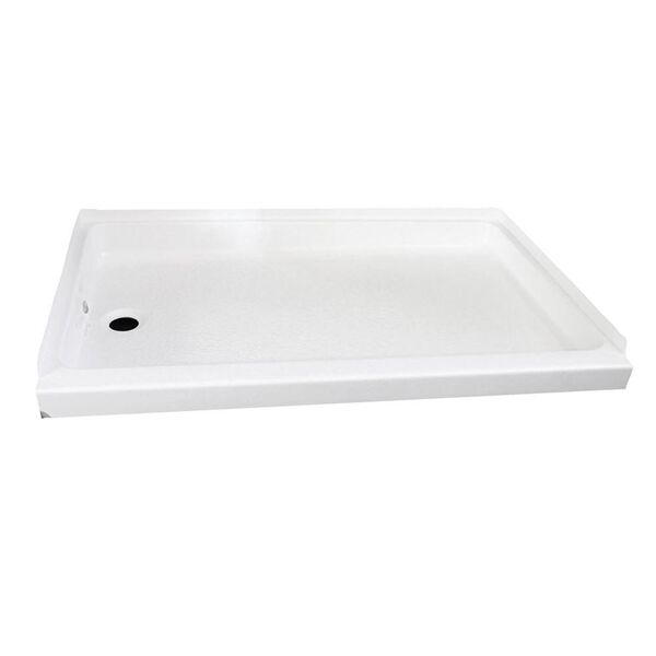 """ABS Shower Pan, 24"""" x 36"""" x 4 5/8"""", White with Left Drain"""