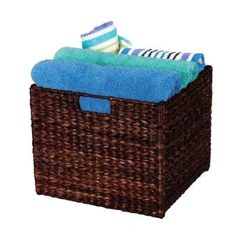 Banana Leaf Wicker Collapsible Storage Bin, Stained