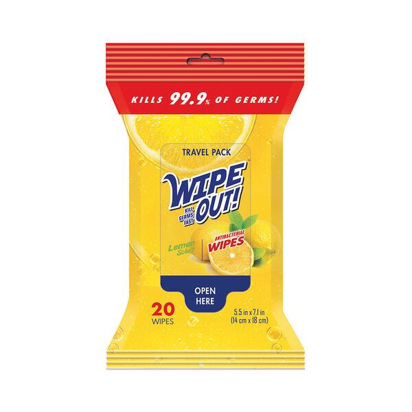 All-Purpose Anti-Bacterial Wipes, Lemon Scent, 20-pack