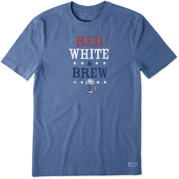 Life Is Good Men's Red White & Brew Crusher Short Sleeve Tee