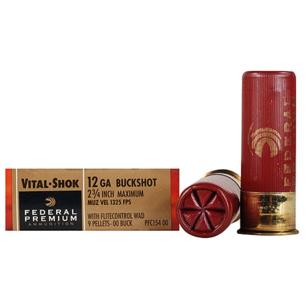 "Federal Premium Vital-Shok Ammo, 12-ga., 2-3/4"", 9 Pellets, 00 Buck"