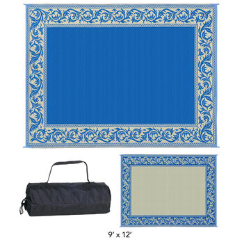 Reversible Classical Design Patio Mat, 8' x 20', Blue/Beige
