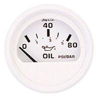 "Faria 2"" Dress White Series Oil Pressure Gauge, 80 PSI"