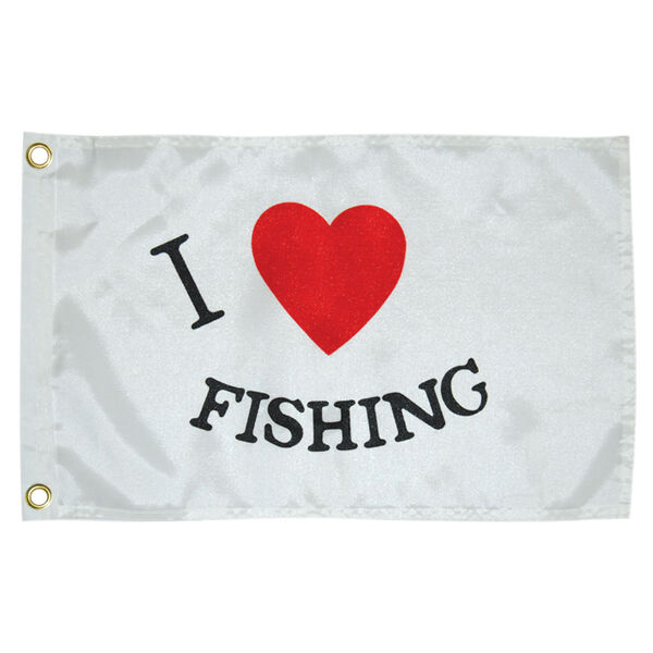 I Luv Fishing Boat Flag