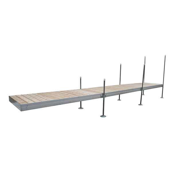 Tommy Docks 24' Straight Aluminum Frame With Cedar Decking Complete Dock Package
